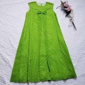 Vintage Aikane Hawaiian Mumu Polka Dot Green